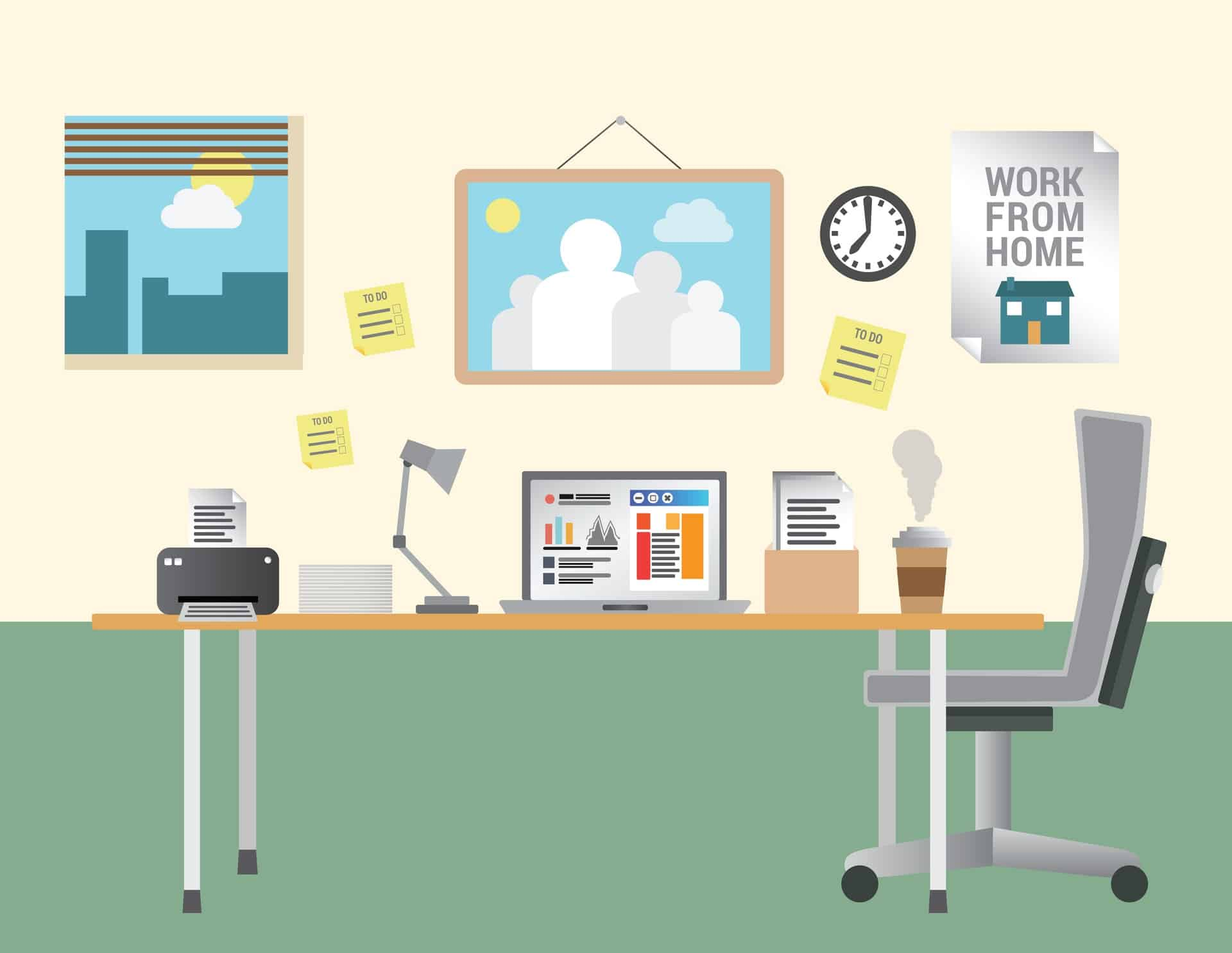 Working from home vector with desk and office equipment for Office design vector