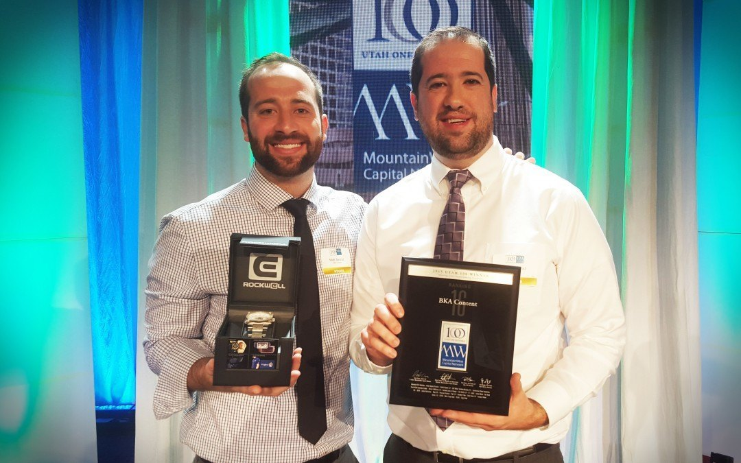 BKA Content: Awarded 16th Fastest Growing Business in Utah