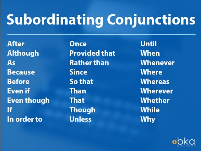 list of subordinating conjunctions