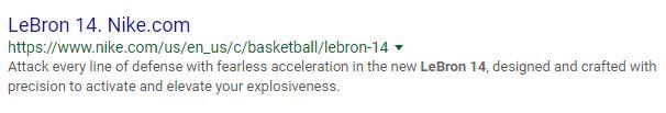 Nike Meta Description