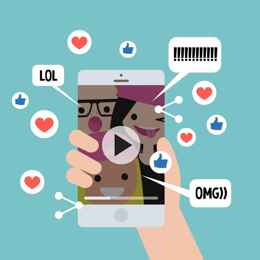 Viral content conceptual illustration. Likes, shares and comments popping up on the mobile screen. Video content for millennials. Flat editable vector illustration, clip art