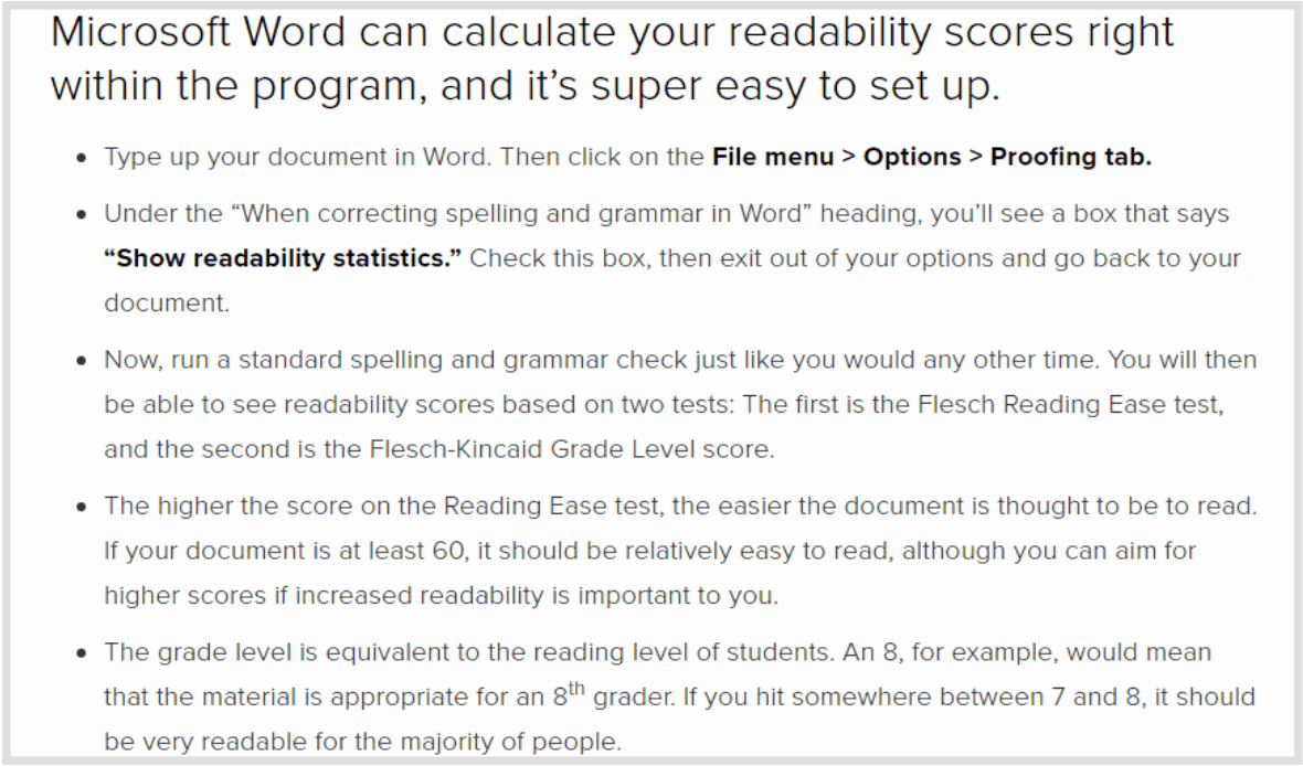 flesch kincaid readability test