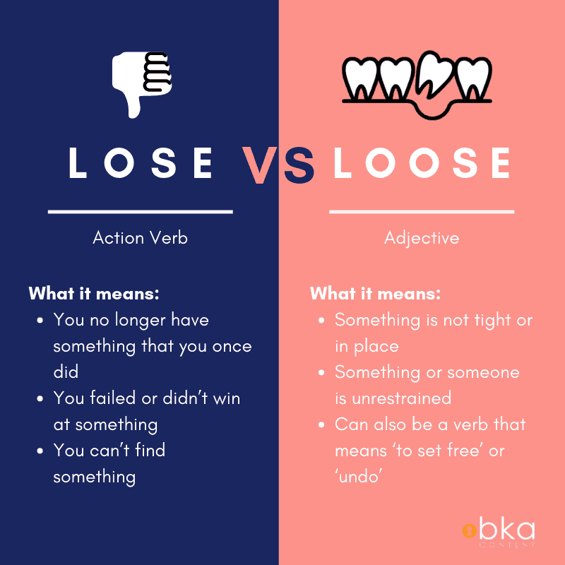 What's the difference between lose vs loose? Lose means to no longer have something you once did. Loose means