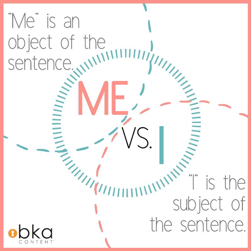 definition of me vs I