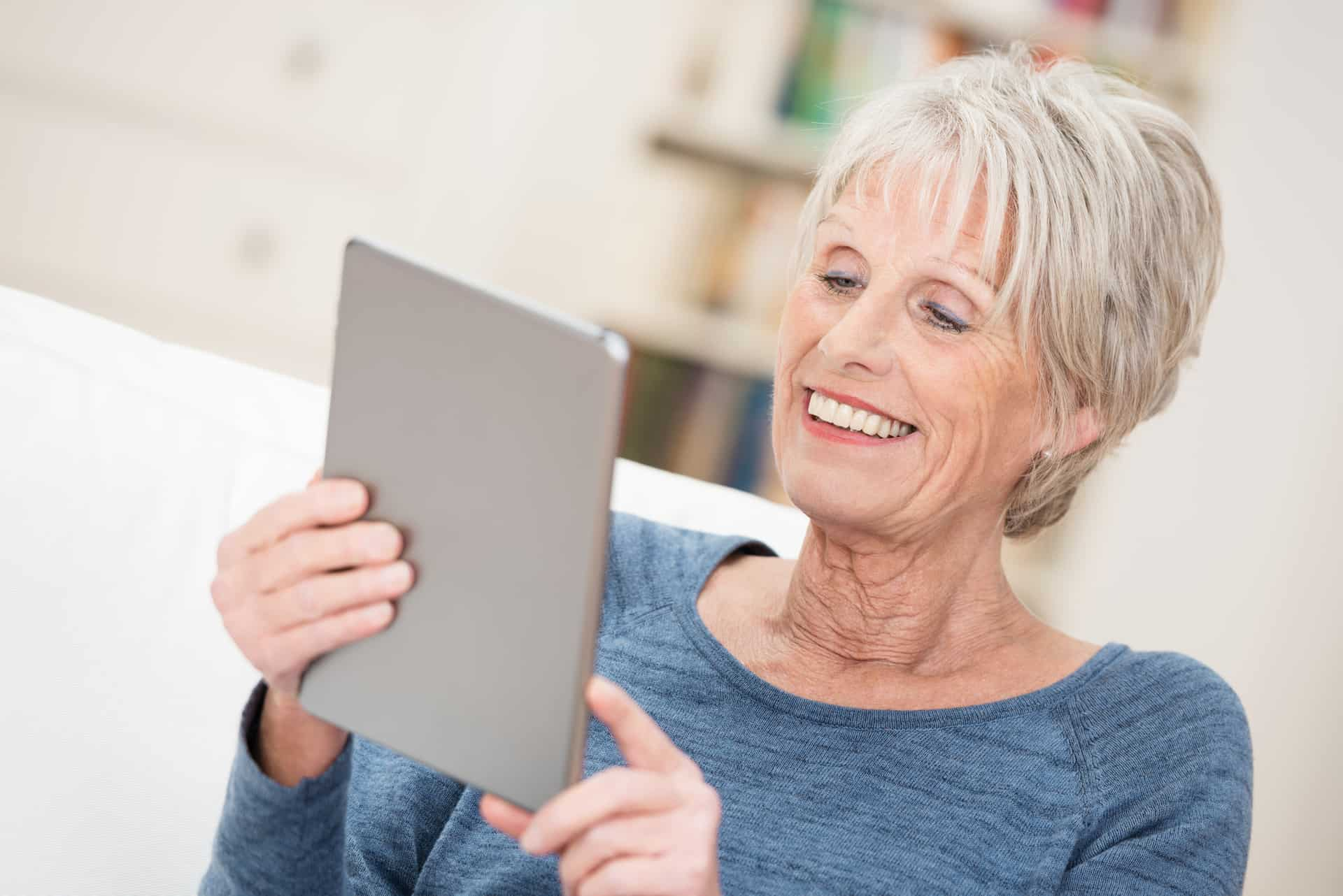 Baby boomer reading marketing content