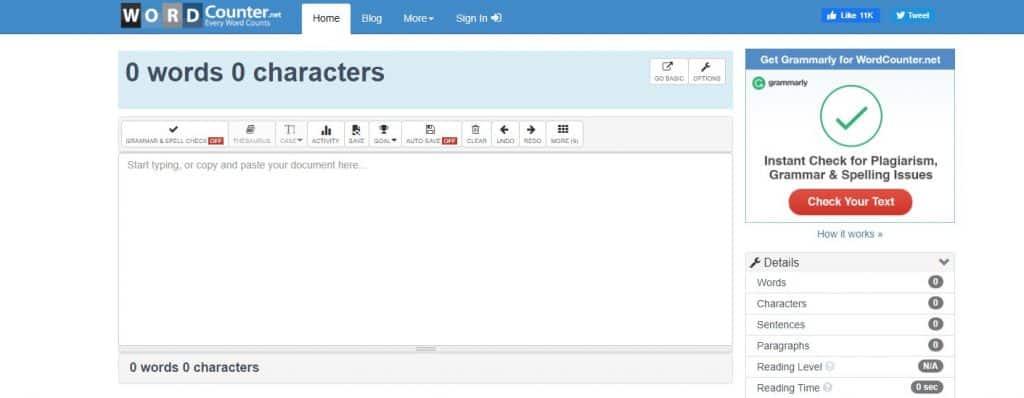 website word counter