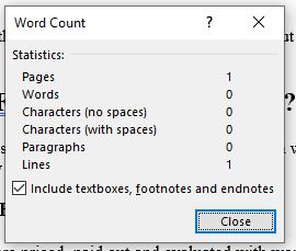 how to see word count on word