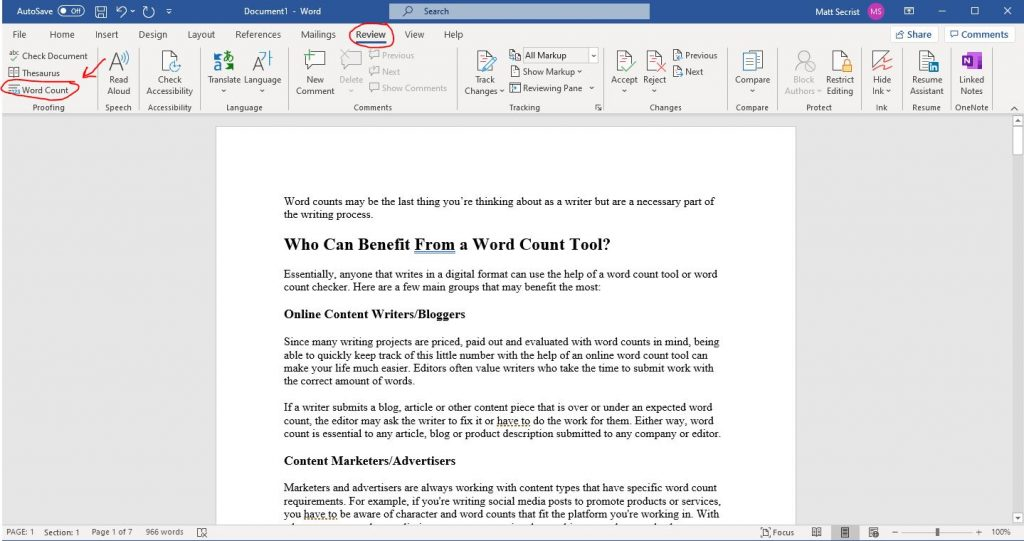 word count in word