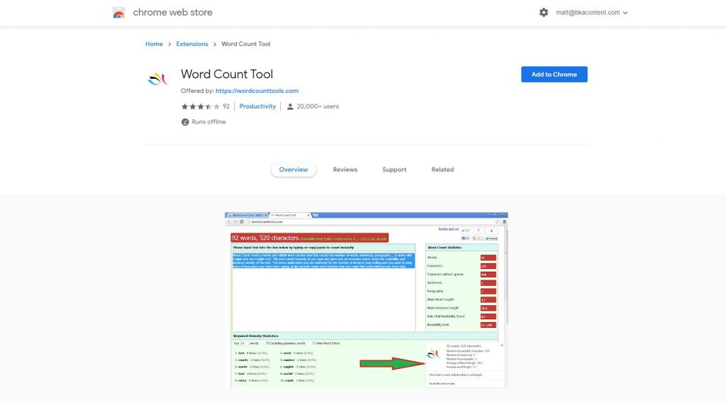 word count chrome extension