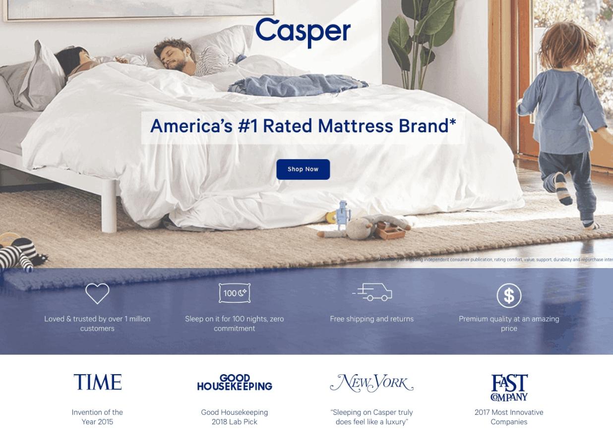 casper landing page example