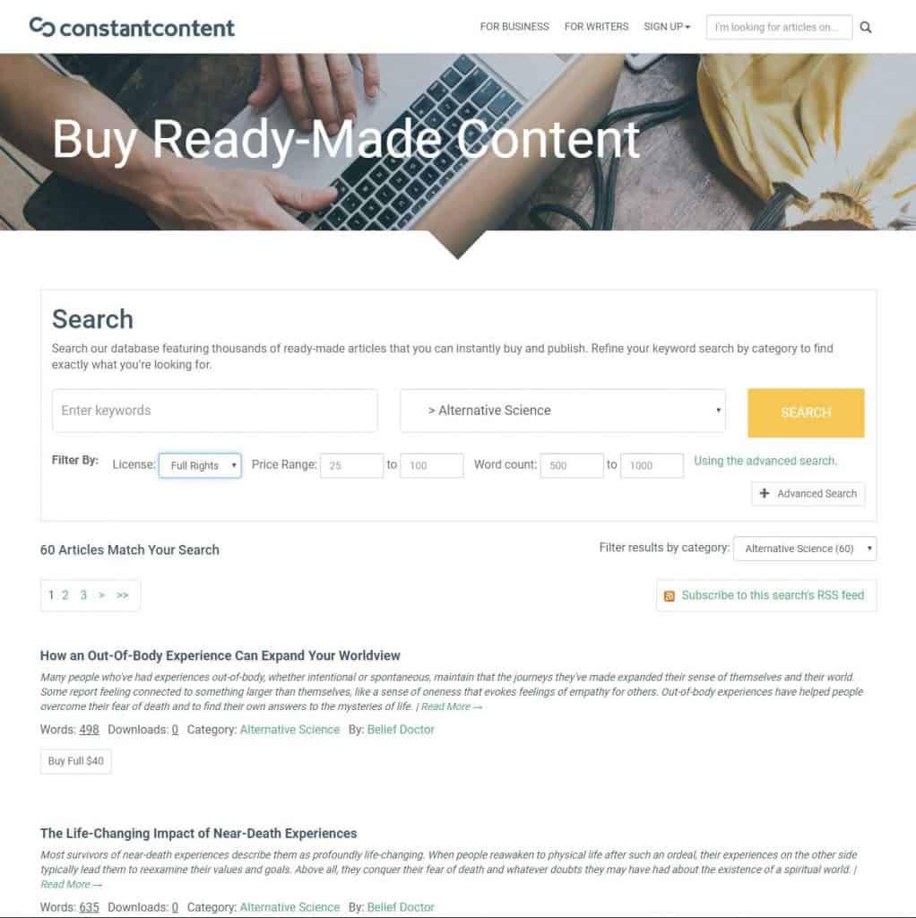 constant content pricing