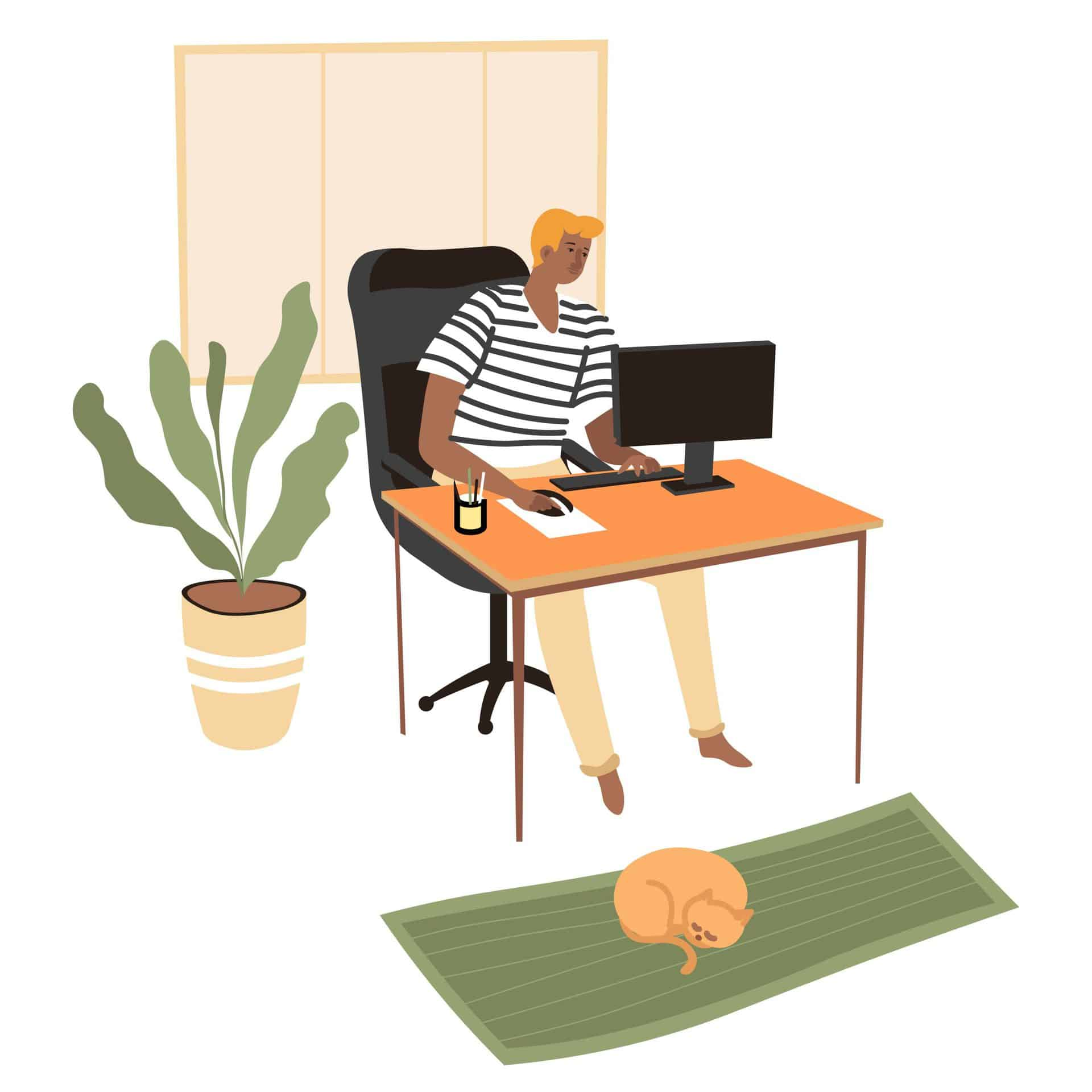 Man working from home as freelance content writer