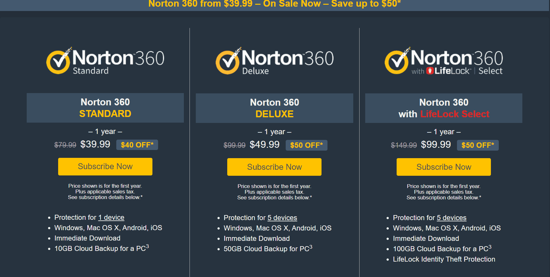 norton landing page example