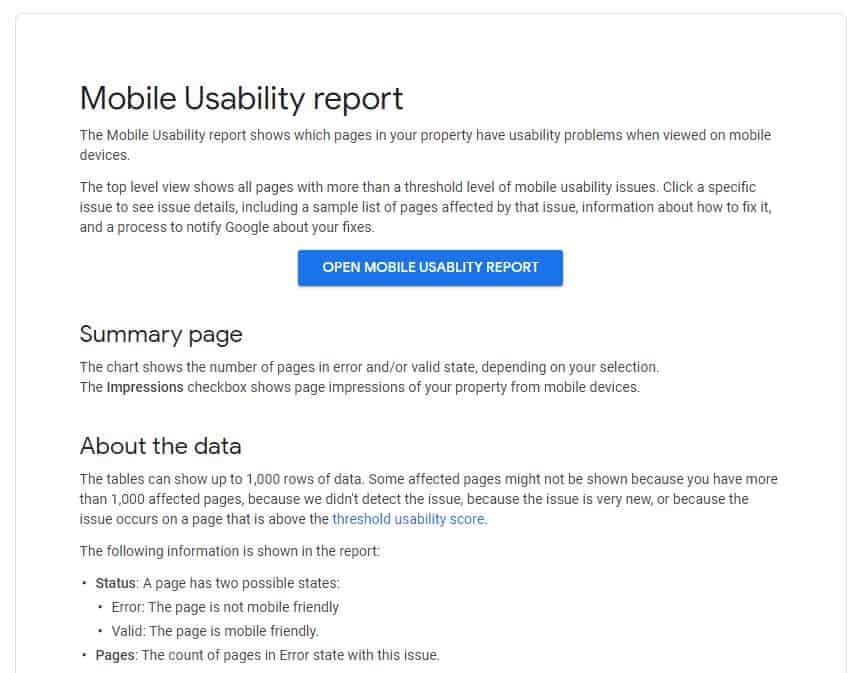 Google Mobile Usability Report