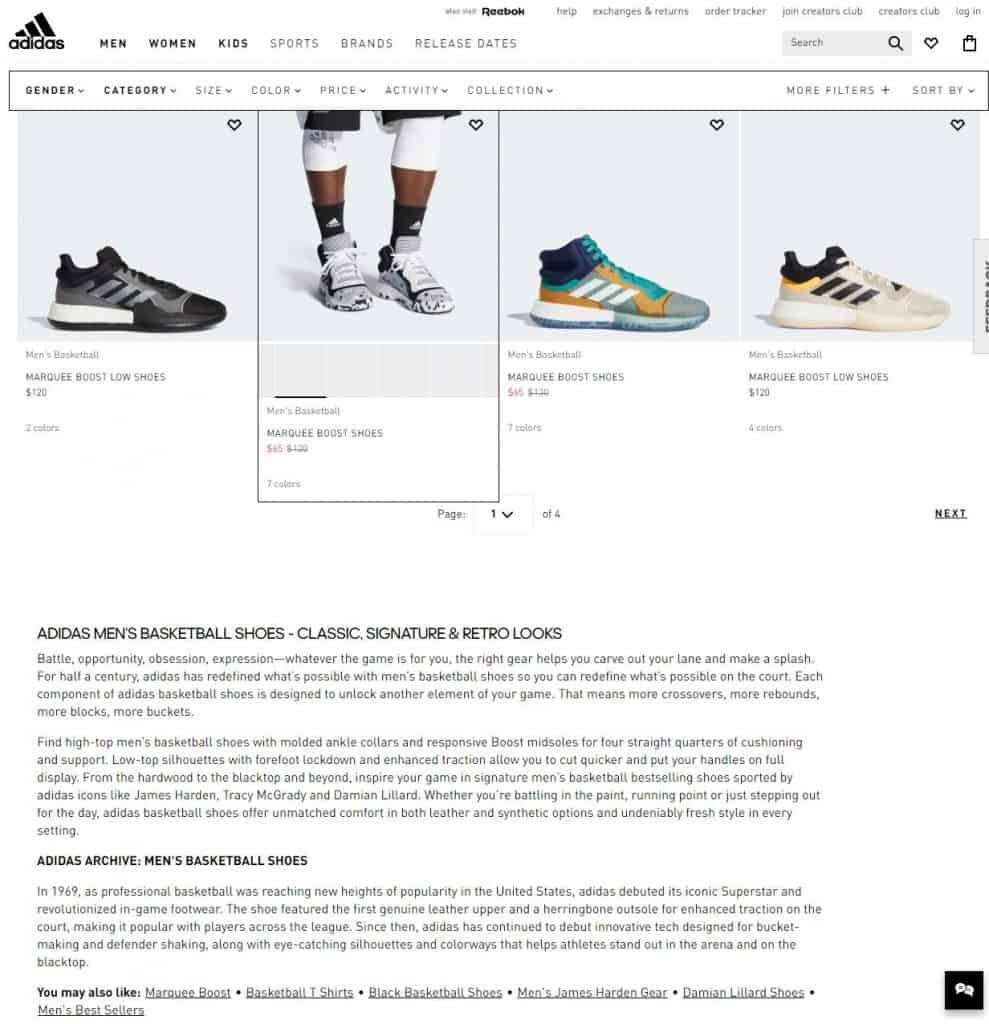 adidas category description
