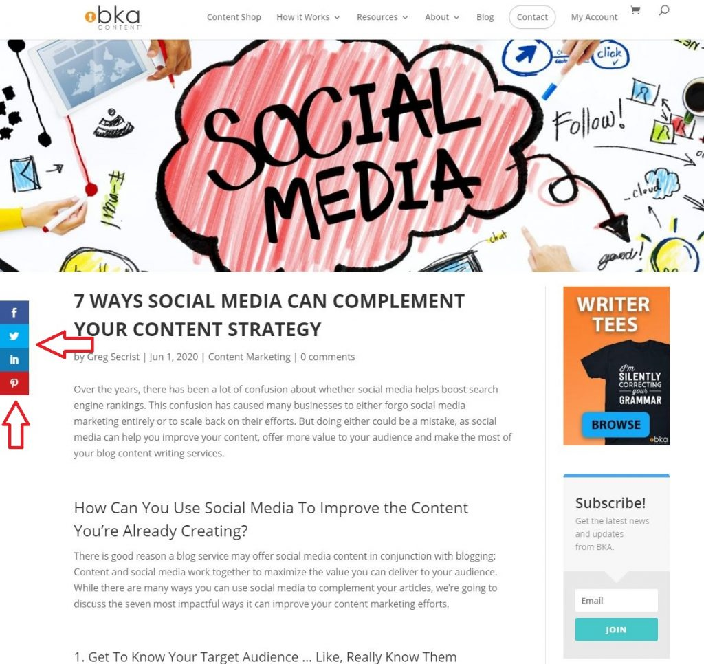 social share buttons for content strategy