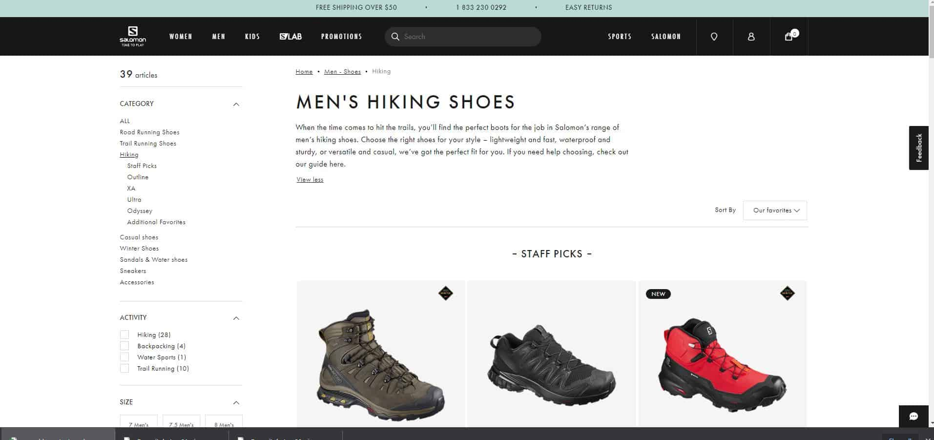 Salomon category page example