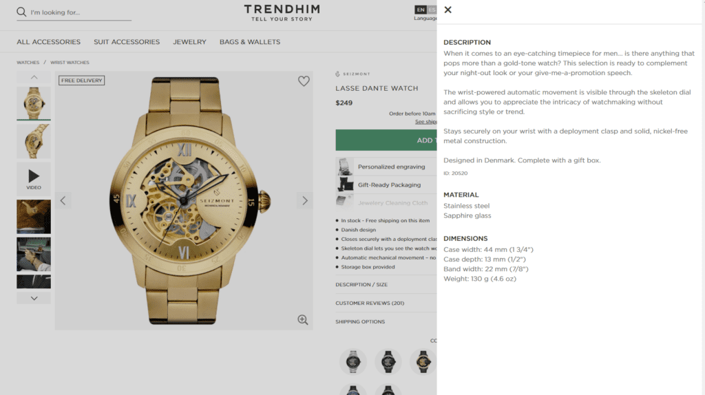 how to write a watch product description
